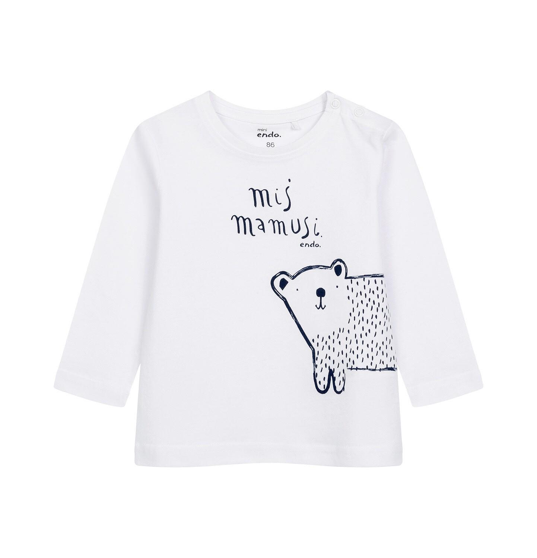 Endo - T-shirt z długim rękawem dla dziecka do 2 lat, biały N04G051_1