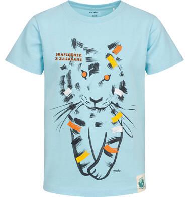 T-shirt z krótkim rękawem dla chłopca, z tygrysem, niebieski, 2-8 lat C05G089_2