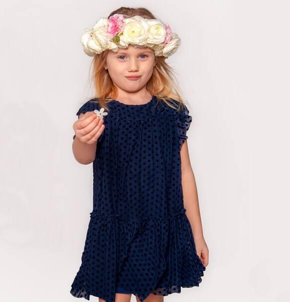 7ebbf45a94 Endo - Tiulowa sukienka w groszki dla dziewczynki 3-8 lat D72H039 1