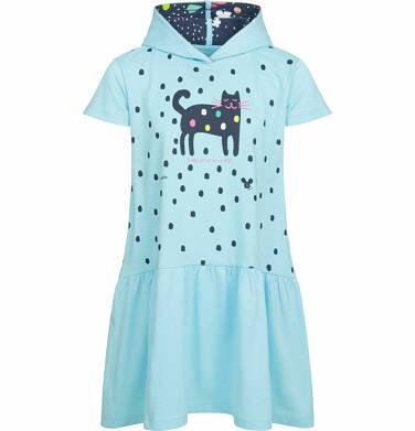 Endo - Sukienka z kapturem i krótkim rękawem, motyw z kotem, niebieska, 2-8 lat D03H015_1