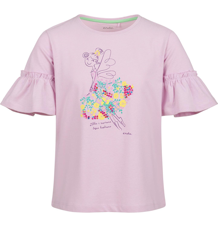 Endo - Bluzka z krótkim rękawem dla dziewczynki, w kwiaty, motylkowy rękaw, różowa, 9-13 lat D03G599_2