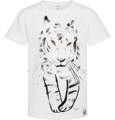 Endo - T-shirt z krótkim rękawem dla chłopca, z tygrysem, biały, 9-13 lat C05G105_1 7