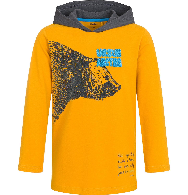 Endo - Koszulka z długim rękawem i kapturem dla chłopca, nie wywołuj misia z lasu, ciemnomusztardowa, 9-13 lat C92G549_1
