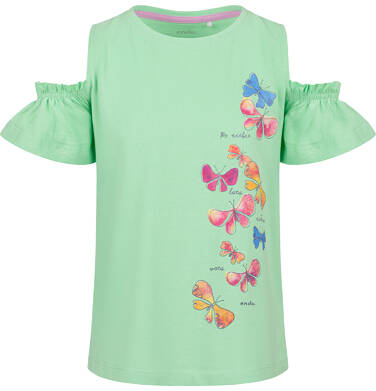 Endo - Bluzka z krótkim rękawem dla dziewczynki, z odsłoniętymi ramionami, zielona, 2-8 lat D03G101_1