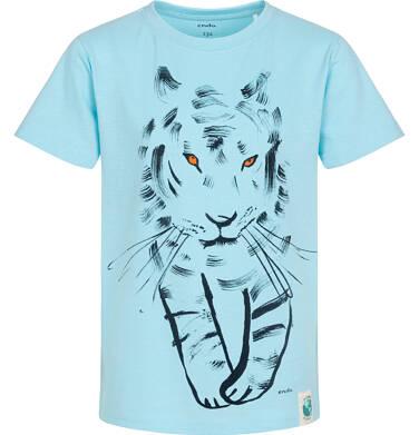 Endo - T-shirt z krótkim rękawem dla chłopca, z tygrysem, niebieski, 9-13 lat C05G105_2 5