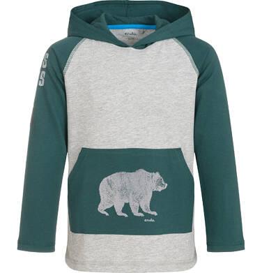 Endo - Koszulka z długim rekawem i kapturem dla chłopca, kieszeń typu kangur, dwukolorowa, 9-13 lat C92G548_1