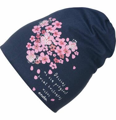 Endo - Czapka wiosenna dla dziewczynki, kwiat kwitnącej wiśni, granatowa D03R010_1