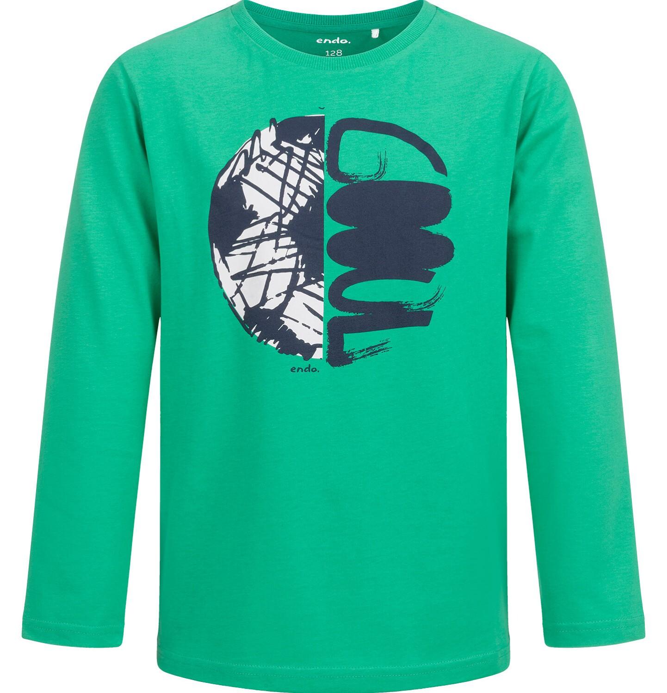Endo - T-shirt z długim rękawem dla chłopca, z piłką, zielony, 9-13 lat C04G002_2