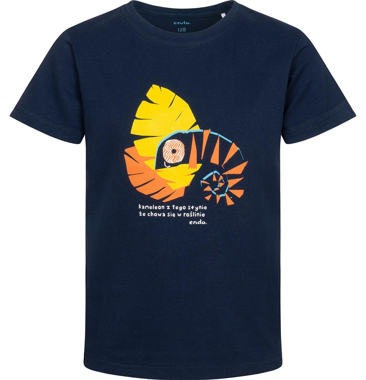 Endo - T-shirt z krótkim rękawem dla chłopca, z kameleonem, granatowy, 9-13 lat C05G110_1
