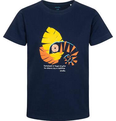Endo - T-shirt z krótkim rękawem dla chłopca, z kameleonem, granatowy, 9-13 lat C05G110_1 4