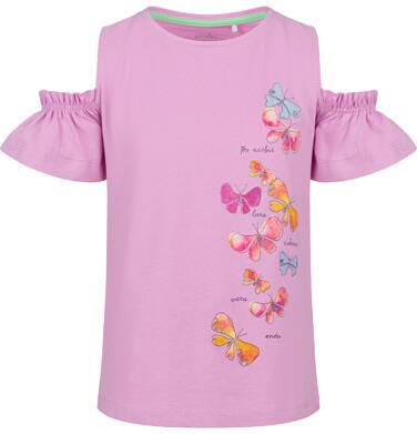 Bluzka z krótkim rękawem dla dziewczynki, z odsłoniętymi ramionami, różowa, 2-8 lat D03G101_2