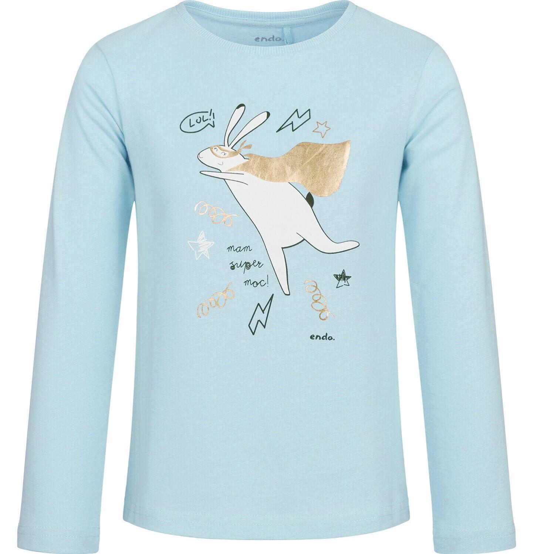 Endo - Bluzka z długim rękawem dla dziewczynki, z zającem, jasny błękit, 9-13 lat D03G711_1