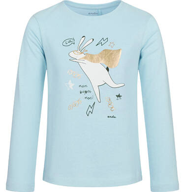 Endo - Bluzka z długim rękawem dla dziewczynki, z zającem, jasny błękit, 9-13 lat D03G711_1 207
