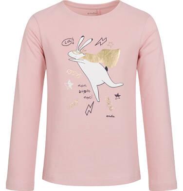 Endo - Bluzka z długim rękawem dla dziewczynki, z zającem, różowa, 2-8 lat D03G711_2 239