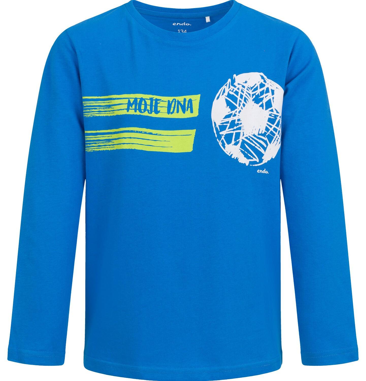 Endo - T-shirt z długim rękawem dla chłopca, z piłką, niebieski, 9-13 lat C04G008_1
