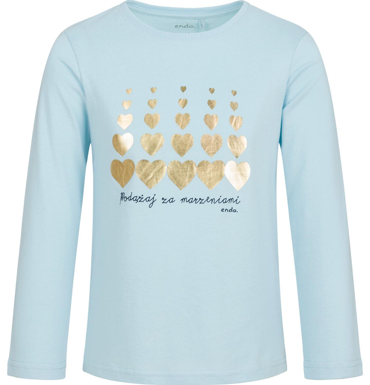 Endo - Bluzka z długim rękawem dla dziewczynki, w serca, niebieska, 9-13 lat D03G714_1