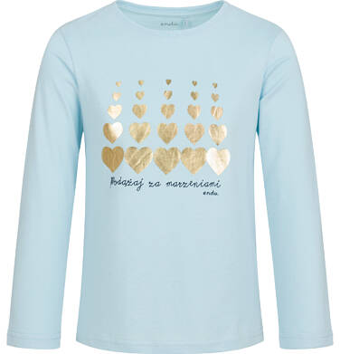 Endo - Bluzka z długim rękawem dla dziewczynki, w serca, niebieska, 9-13 lat D03G714_1 5