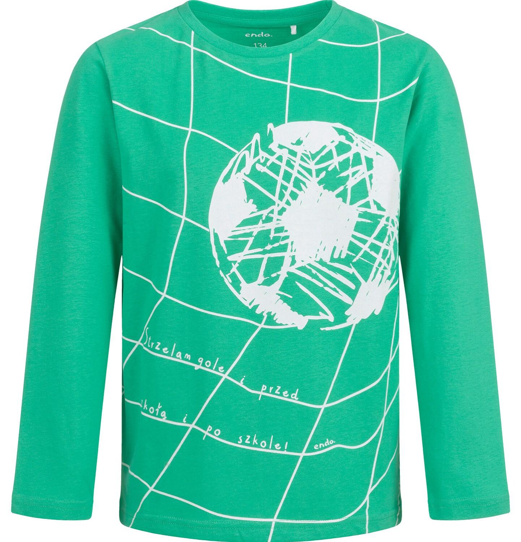 Endo - T-shirt z długim rękawem dla chłopca, z piłką, zielony, 9-13 lat C04G013_1