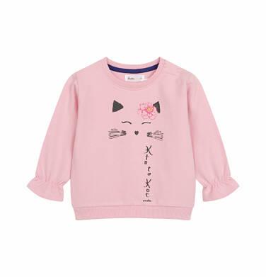 Endo - Bluza dresowa dla dziecka do 2 lat, z kotem i falbanką na rękawach, różowa N03C003_1