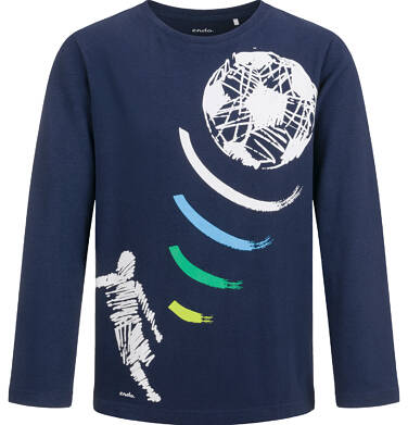 T-shirt z długim rękawem dla chłopca, z piłką, granatowy, 2-8 lat C04G014_1