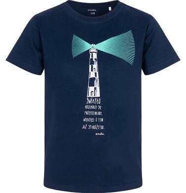 Endo - T-shirt z krótkim rękawem dla chłopca, z latarnią morską, granatowy, 9-13 lat C05G122_1 29