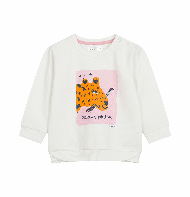 Endo - Bluza dresowa dla dziecka do 2 lat, z panterą, porcelanowa N03C004_1