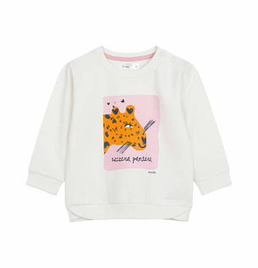 Bluza dresowa dla dziecka do 2 lat, z panterą, porcelanowa N03C004_1