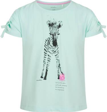 Endo - Bluzka z krótkim rękawem dla dziewczynki, z zebrą, niebieska, 2-8 lat D03G104_2 23