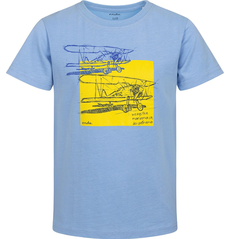 Endo - T-shirt z krótkim rękawem dla chłopca, z samolotem, niebieski, 9-13 lat C05G126_2
