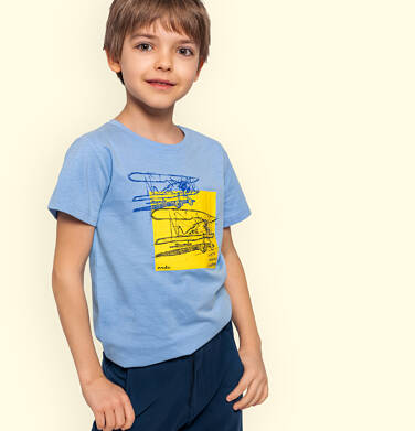 Endo - T-shirt z krótkim rękawem dla chłopca, z samolotem, niebieski, 9-13 lat C05G126_2 21