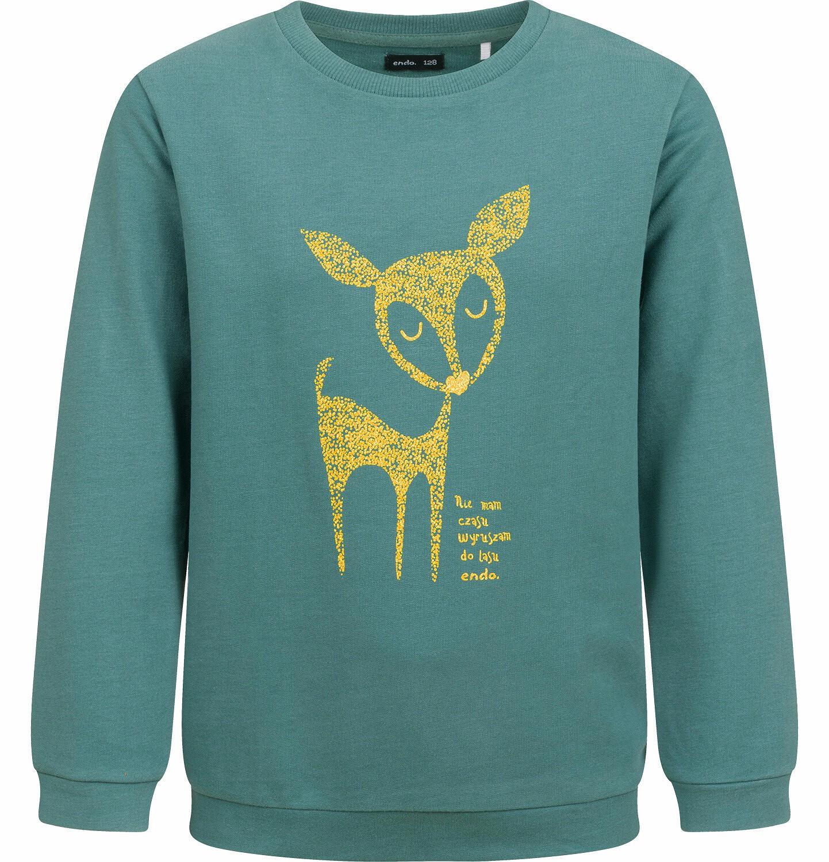 Endo - Bluza dla dziewczynki, z sarenką, zielona, 2-8 lat D04C003_1