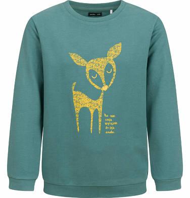 Bluza dla dziewczynki, z sarenką, zielona, 2-8 lat D04C003_1