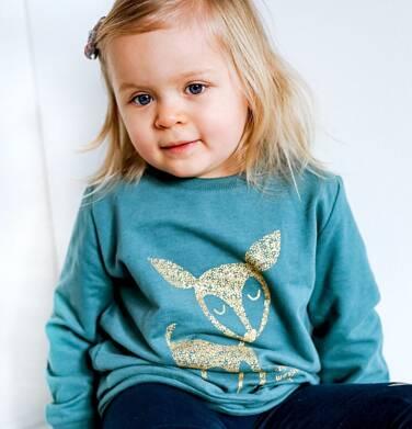 Endo - Bluza dla dziewczynki, z sarenką, zielona, 2-8 lat D04C003_1,2