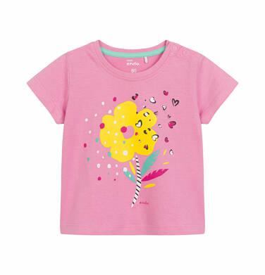 Endo - Bluzka z krótkim rękawem dla dziecka do 2 lat, z kolorowym kwiatem, różowa N03G019_1