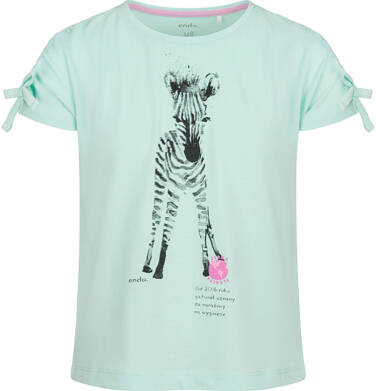 Endo - Bluzka z krótkim rękawem dla dziewczynki, z zebrą, niebieska, 9-13 lat D03G604_2 214