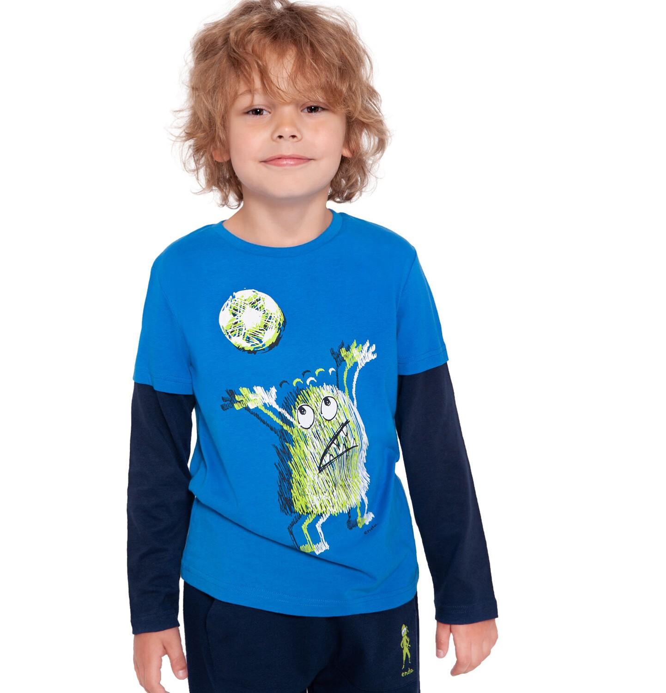 Endo - T-shirt z długim rękawem dla chłopca, z kontrastowym rękawem, niebieski, 2-8 lat C04G020_1