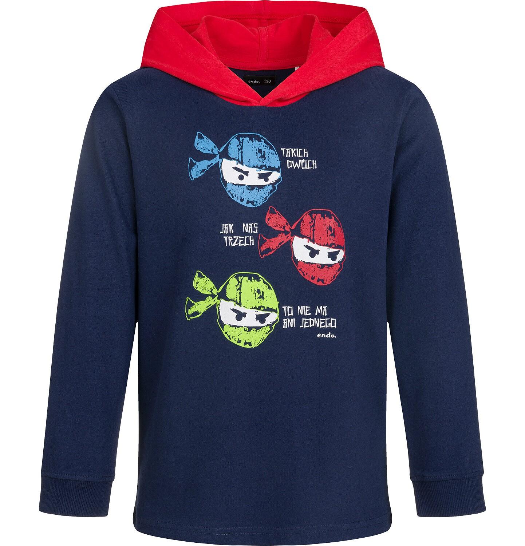 Endo - Bluza dla chłopca z kontrastowym kapturem, granatowa, 2-8 lat C03C008_1