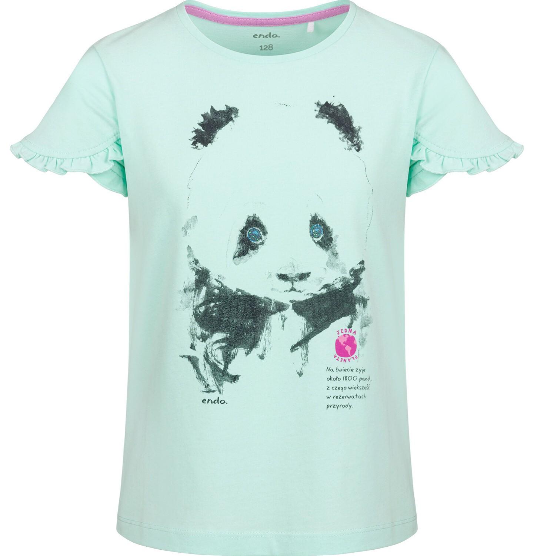Endo - Bluzka z krótkim rękawem dla dziewczynki, z pandą, zielona, 2-8 lat D03G105_1