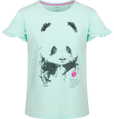 Endo - Bluzka z krótkim rękawem dla dziewczynki, z pandą, zielona, 2-8 lat D03G105_1 9