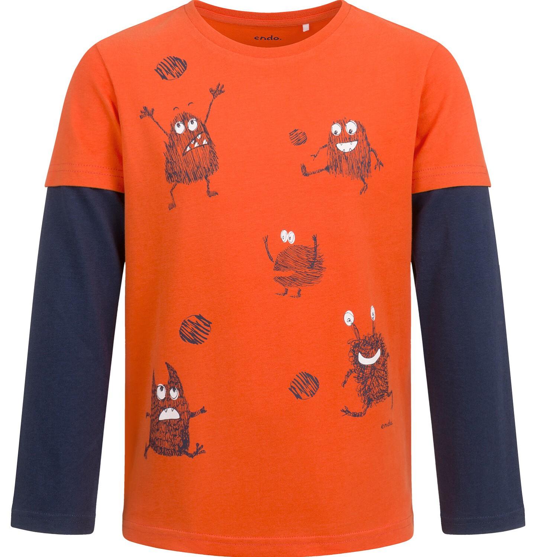 Endo - T-shirt z długim rękawem dla chłopca, z kontrastowym rękawem, pomarańczowy, 2-8 lat C04G021_1