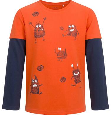 Endo - T-shirt z długim rękawem dla chłopca, z kontrastowym rękawem, pomarańczowy, 2-8 lat C04G021_1 29