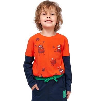 Endo - T-shirt z długim rękawem dla chłopca, z kontrastowym rękawem, pomarańczowy, 2-8 lat C04G021_1 4