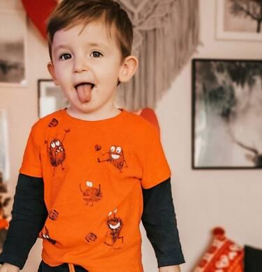 Endo - T-shirt z długim rękawem dla chłopca, z kontrastowym rękawem, pomarańczowy, 2-8 lat C04G021_1,3