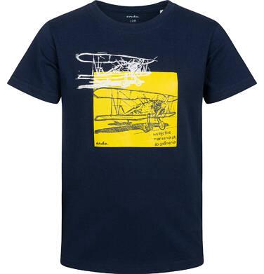 Endo - T-shirt z krótkim rękawem dla chłopca, z samolotem, granatowy, 2-8 lat C05G139_1 2