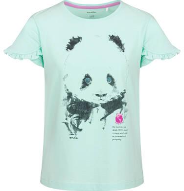 Endo - Bluzka z krótkim rękawem dla dziewczynki, z pandą, zielona, 9-13 lat D03G605_1 4