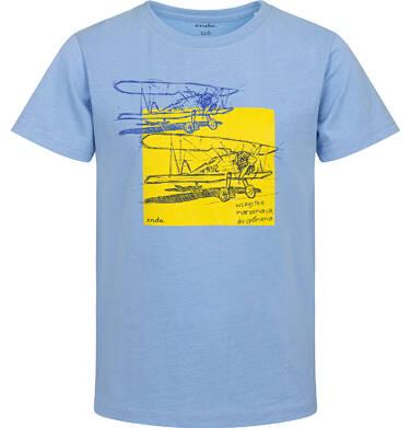 Endo - T-shirt z krótkim rękawem dla chłopca, z samolotem, niebieski, 2-8 lat C05G139_2 25