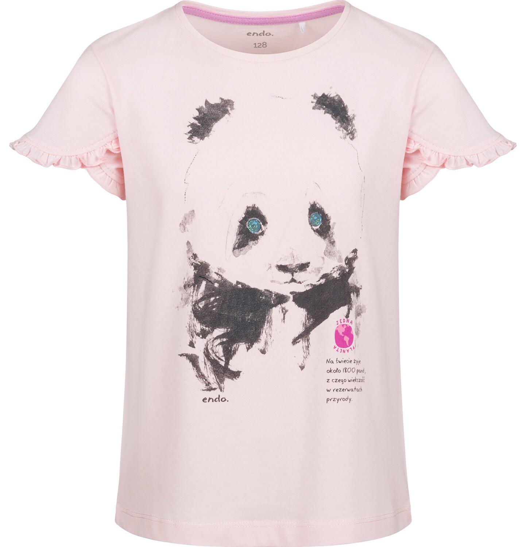 Endo - Bluzka z krótkim rękawem dla dziewczynki, z pandą, różowa, 2-8 lat D03G105_2