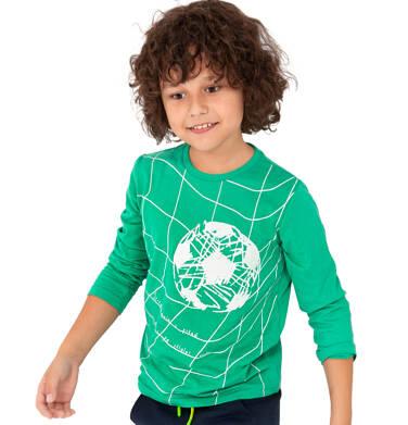 Endo - T-shirt z długim rękawem dla chłopca, z piłką, zielony, 2-8 lat C04G025_1 2