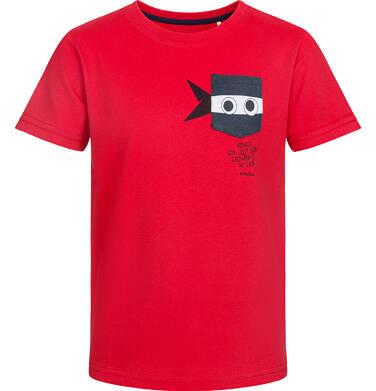 T-shirt z krótkim rękawem dla chłopca, z zabawną kieszenią ninja, czerwony, 9-13 lat C03G524_1
