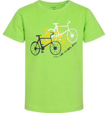 Endo - T-shirt z krótkim rękawem dla chłopca, z rowerami, zielony, 9-13 lat C05G165_2 1